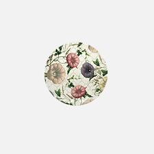 Modern vintage morning glories Mini Button