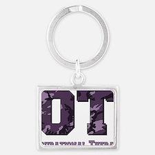 camo letters purple Landscape Keychain