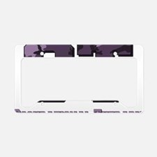 camo letters purple License Plate Holder