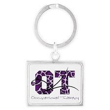 camo letters giraffe purple Landscape Keychain