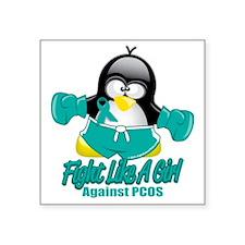 "PCOS-Fighting-Penguin Square Sticker 3"" x 3"""
