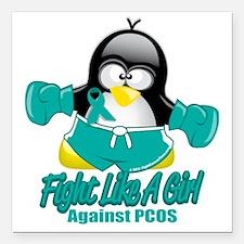 """PCOS-Fighting-Penguin Square Car Magnet 3"""" x 3"""""""