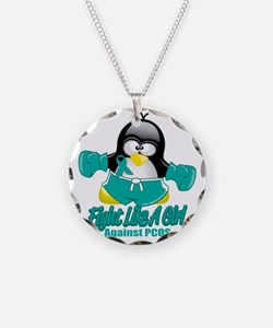 PCOS-Fighting-Penguin Necklace Circle Charm