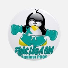 PCOS-Fighting-Penguin Round Ornament