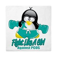 PCOS-Fighting-Penguin Queen Duvet