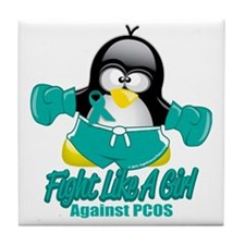 PCOS-Fighting-Penguin Tile Coaster