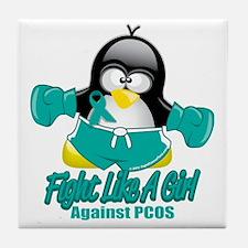 PCOS-Fighting-Penguin Tile Coaster
