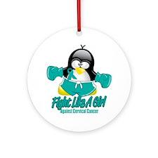 Cervical-Cancer-Fighting-Penguin Round Ornament