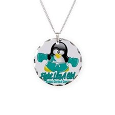 Cervical-Cancer-Fighting-Pen Necklace Circle Charm