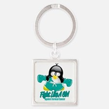 Cervical-Cancer-Fighting-Penguin Square Keychain