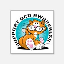"OCD-Cat Square Sticker 3"" x 3"""