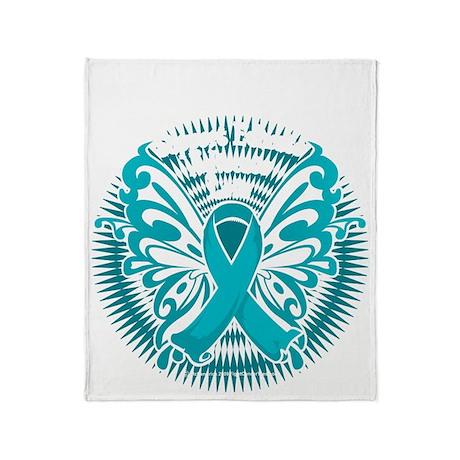 OCD-Butterfly-3-blk Throw Blanket