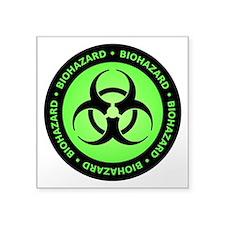 """biohazVectTxtGreenSp Square Sticker 3"""" x 3"""""""