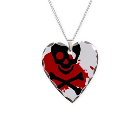 SkullnBloodBlk60x50 Necklace Heart Charm