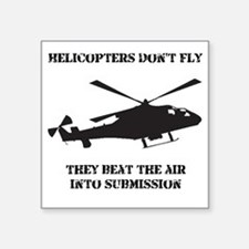 "Helicopter Submission Black Square Sticker 3"" x 3"""