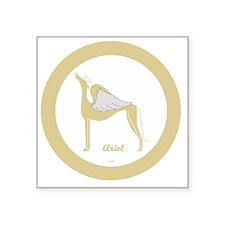 "ARIEL ANGEL GREY gold rim r Square Sticker 3"" x 3"""