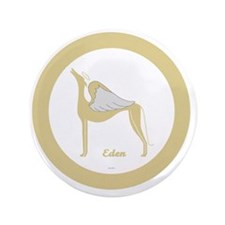"EDEN ANGEL GREY gold rim round ornamen 3.5"" Button"
