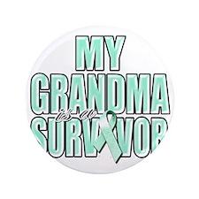 "My Grandma is a Survivor (teal) 3.5"" Button"