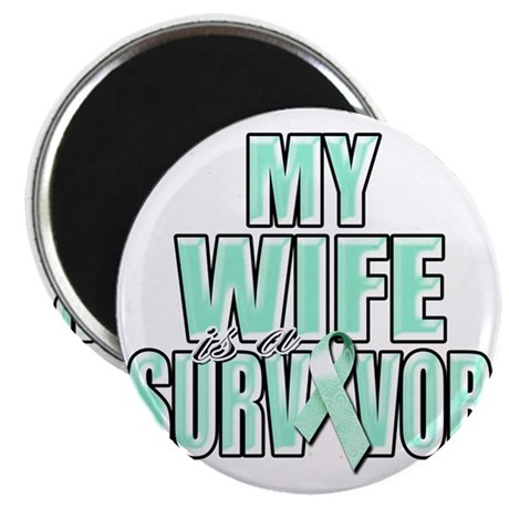 My Wife is a Survivor (teal) Magnet