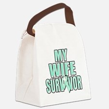 My Wife is a Survivor (teal) Canvas Lunch Bag