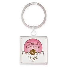 Sunrise_Wife Square Keychain