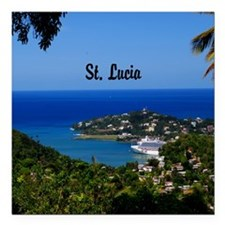 "St Lucia 20x16 Square Car Magnet 3"" x 3"""