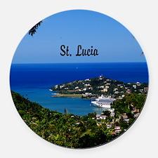 St Lucia 20x16 Round Car Magnet
