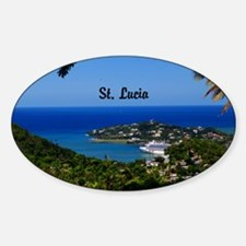 St Lucia 35x23 Sticker (Oval)