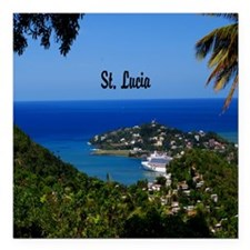 "St Lucia 11x11 Square Car Magnet 3"" x 3"""