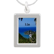 St Lucia 2.5x3.5 Silver Portrait Necklace