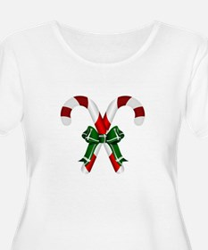 Christmas Candy Cane With Bows Plus Size T-Shirt