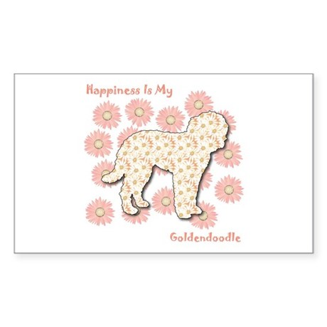 Goldendoodle Happiness Rectangle Sticker