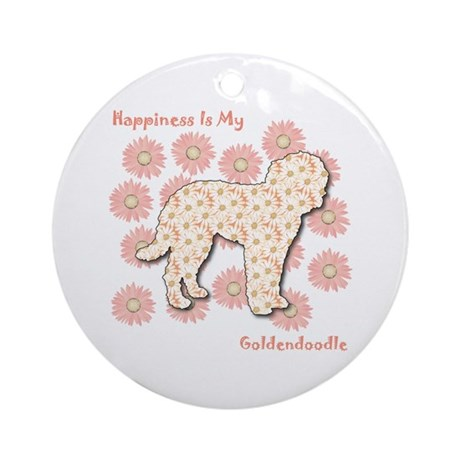 Goldendoodle Happiness Ornament (Round)