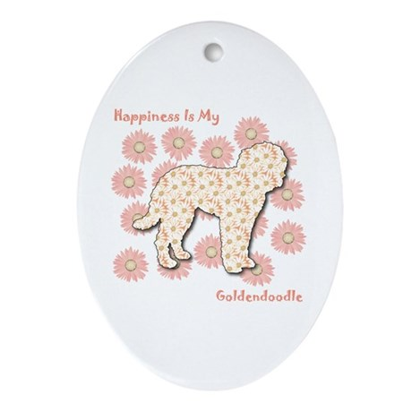Goldendoodle Happiness Oval Ornament