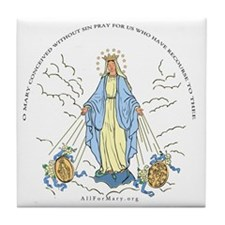 Mary Miraculous Medal Tile Coaster