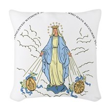 Mary Miraculous Medal Woven Throw Pillow