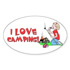 I Love Camping Oval Decal