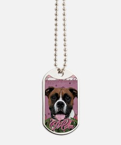 Mothers_Day_Pink_Tulips_Boxer_Vindy_Mom Dog Tags