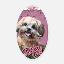 Mothers_Day_Pink_Tulips_ShihPoo_Ma Oval Car Magnet