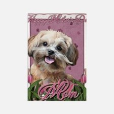Mothers_Day_Pink_Tulips_ShihPoo_M Rectangle Magnet