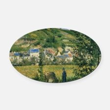 Landscape at Chaponval by Camille  Oval Car Magnet