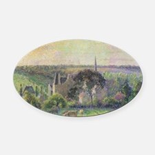 The Church and Farm of Eragny by C Oval Car Magnet