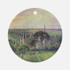 The Church and Farm of Eragny by Ca Round Ornament