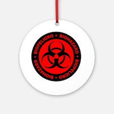 Red Bilingual Biohazard Symbol Round Ornament