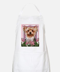 Mothers_Day_Pink_Tulips_Yorkshire_Terrier Apron