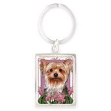 Mothers_Day_Pink_Tulips_Yorkshir Portrait Keychain