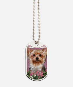 Mothers_Day_Pink_Tulips_Yorkshire_Terrier Dog Tags