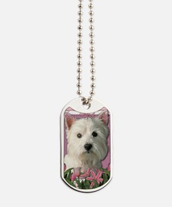 Mothers_Day_Pink_Tulips_Westie Dog Tags