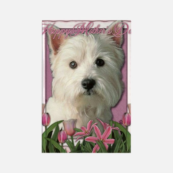 Mothers_Day_Pink_Tulips_Westie Rectangle Magnet