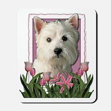 Pink_Tulips_Westie Mousepad